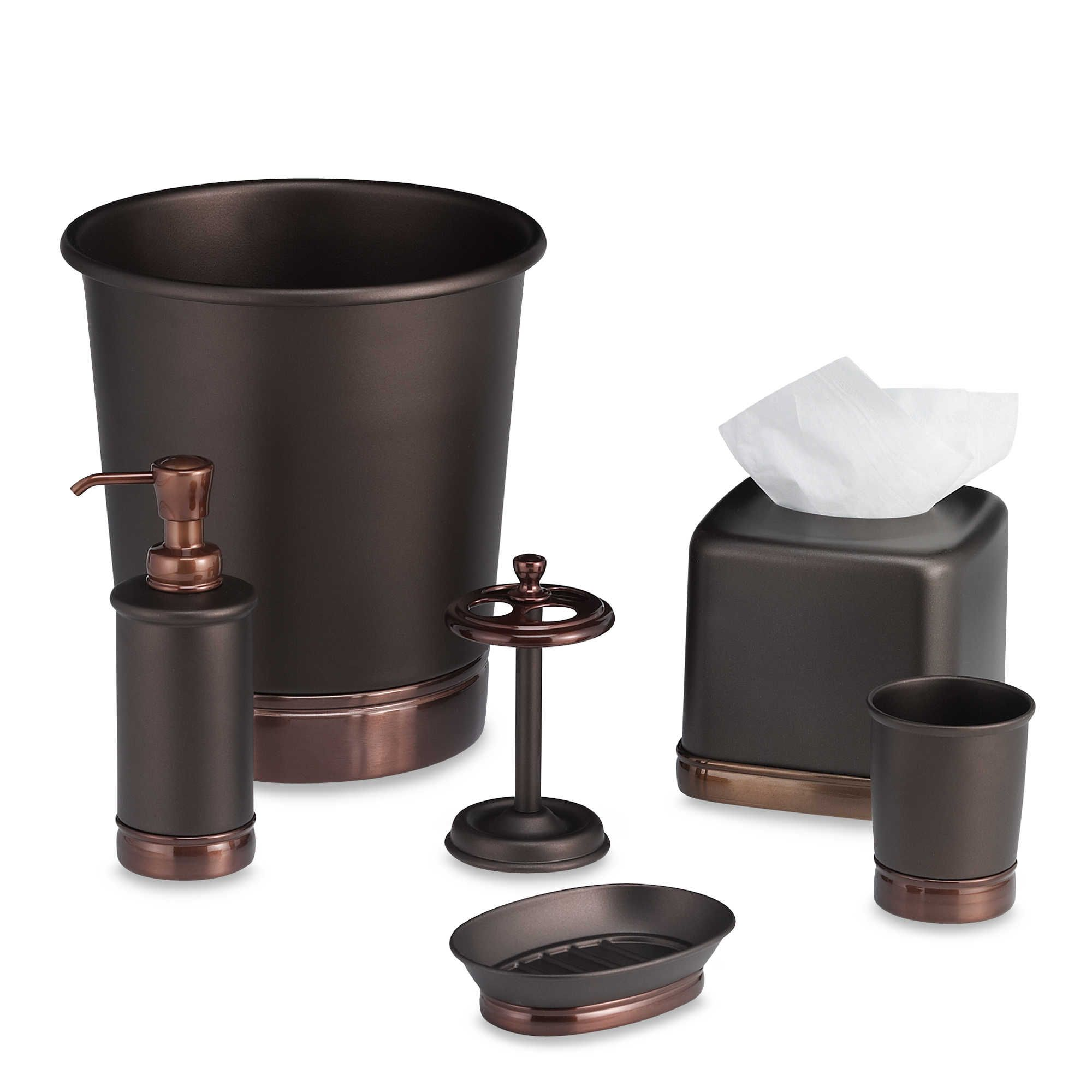 Idesign York Metal Wastebasket In Oil Rubbed Bronze Bronze Bathroom Decor Bronze Bathroom Accessories Oil Rubbed Bronze