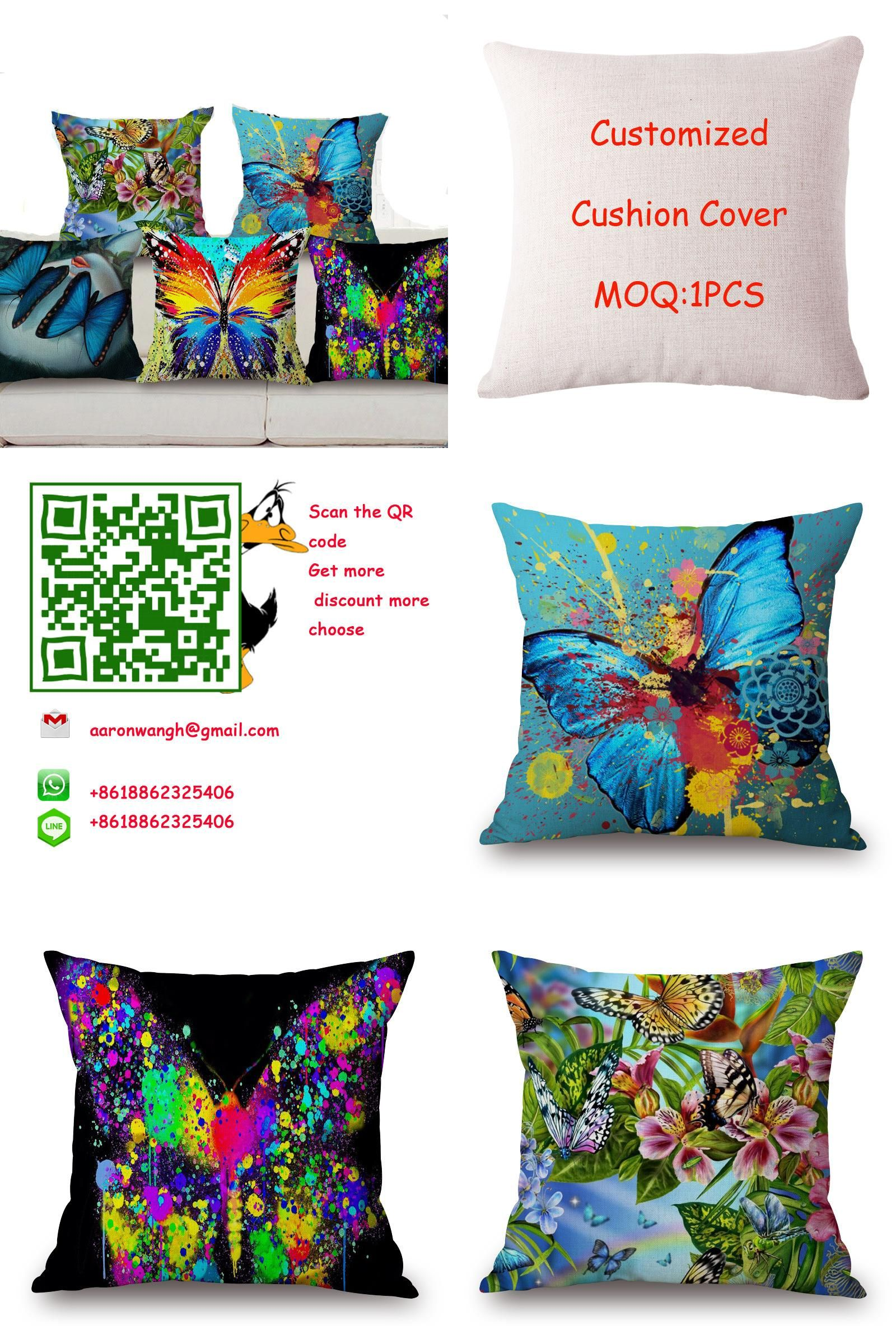 """Visit to Buy] Square 18"""" Butterflies Cushion Cover Ink and Washing"""