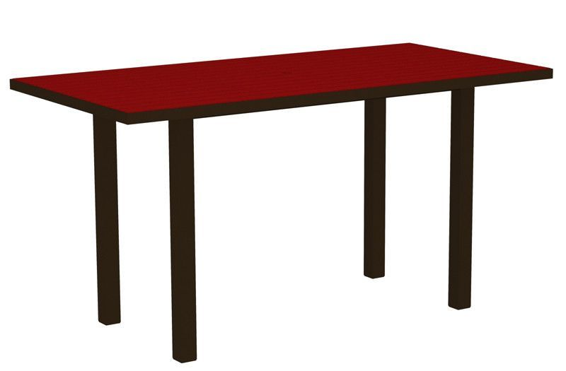 "Polywood ATR3672-16SR Euro 36"" x 72"" Counter Table in Textured Bronze Aluminum Frame / Sunset Red"