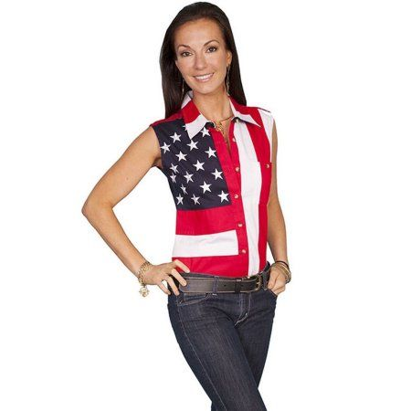 Free Shipping. Buy Scully Western Shirt Womens Flag Stars Stripes Sleeveless RW029LSS at Walmart.com