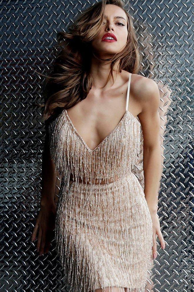 Jovani 66073 Two Piece Fringed Cocktail Dress en 2019