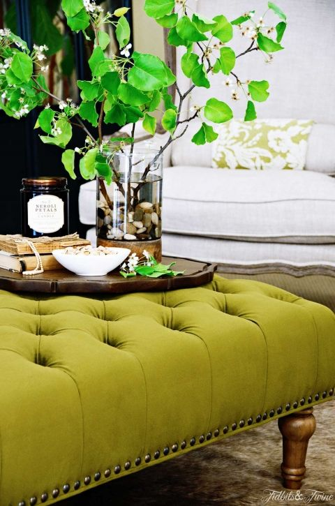 Going Green Decorating Ideas For Everyone Tufted Ottoman
