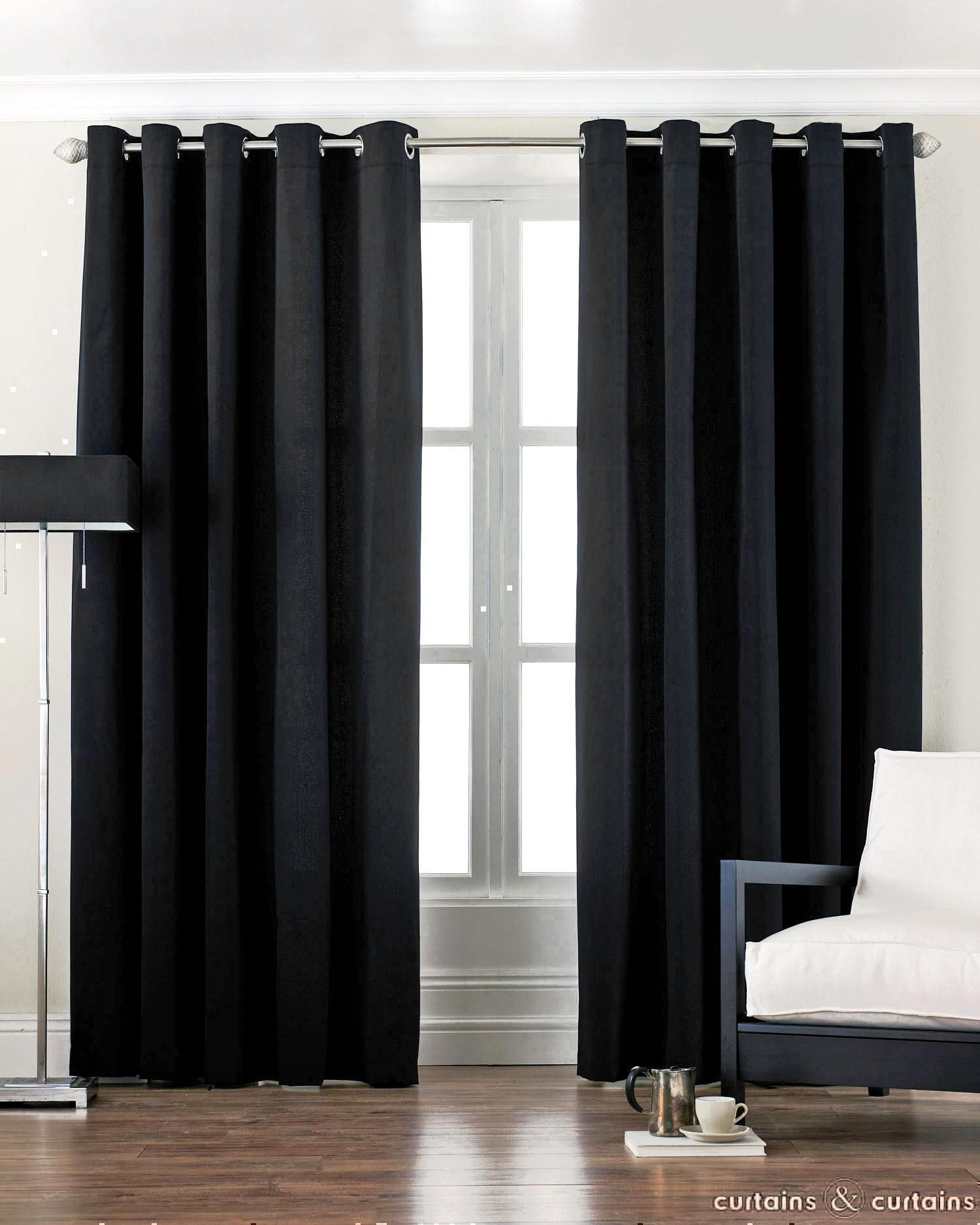 Black Cotton Canvas Eyelet Lined Curtain