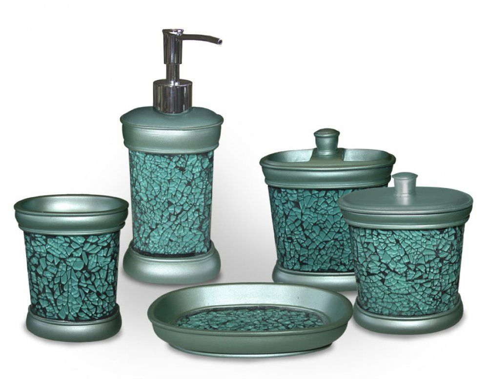 Unique turquoise bathroom accessories for decoration for Green and brown bathroom set