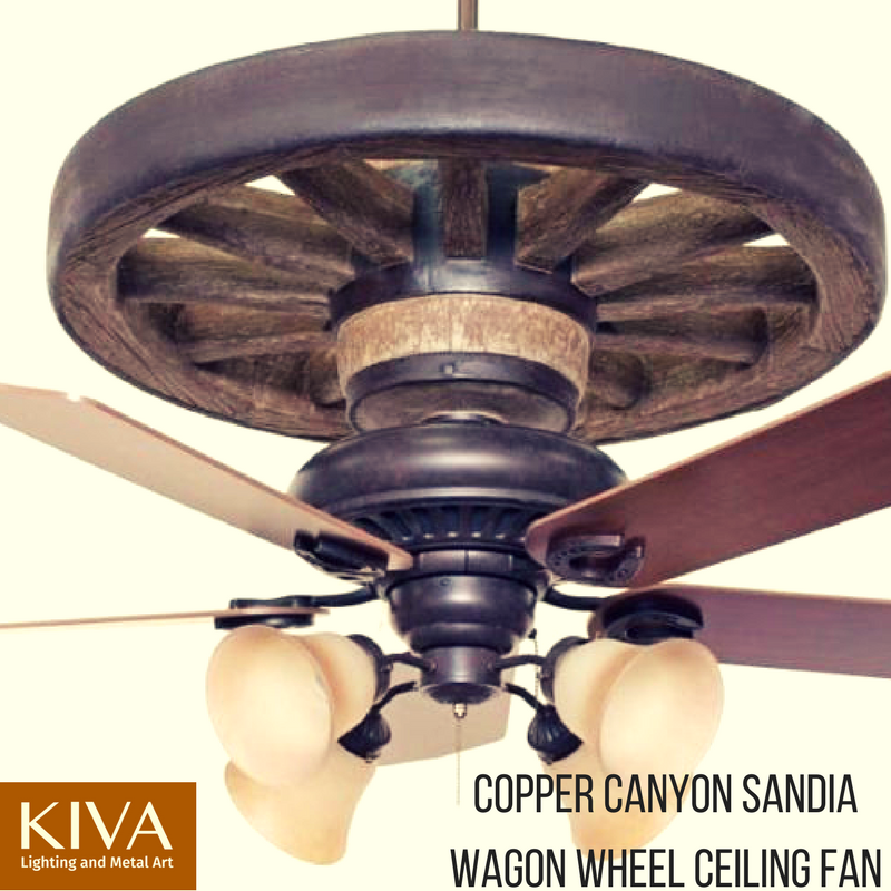Sandia wagon wheel ceiling fan rustic lighting and fans
