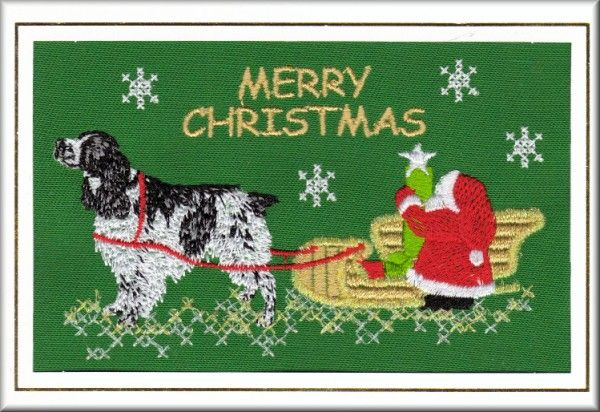 springer spaniel embroidery | English Springer Spaniel Christmas Card Embroidered by Dogmania (C2796 ...