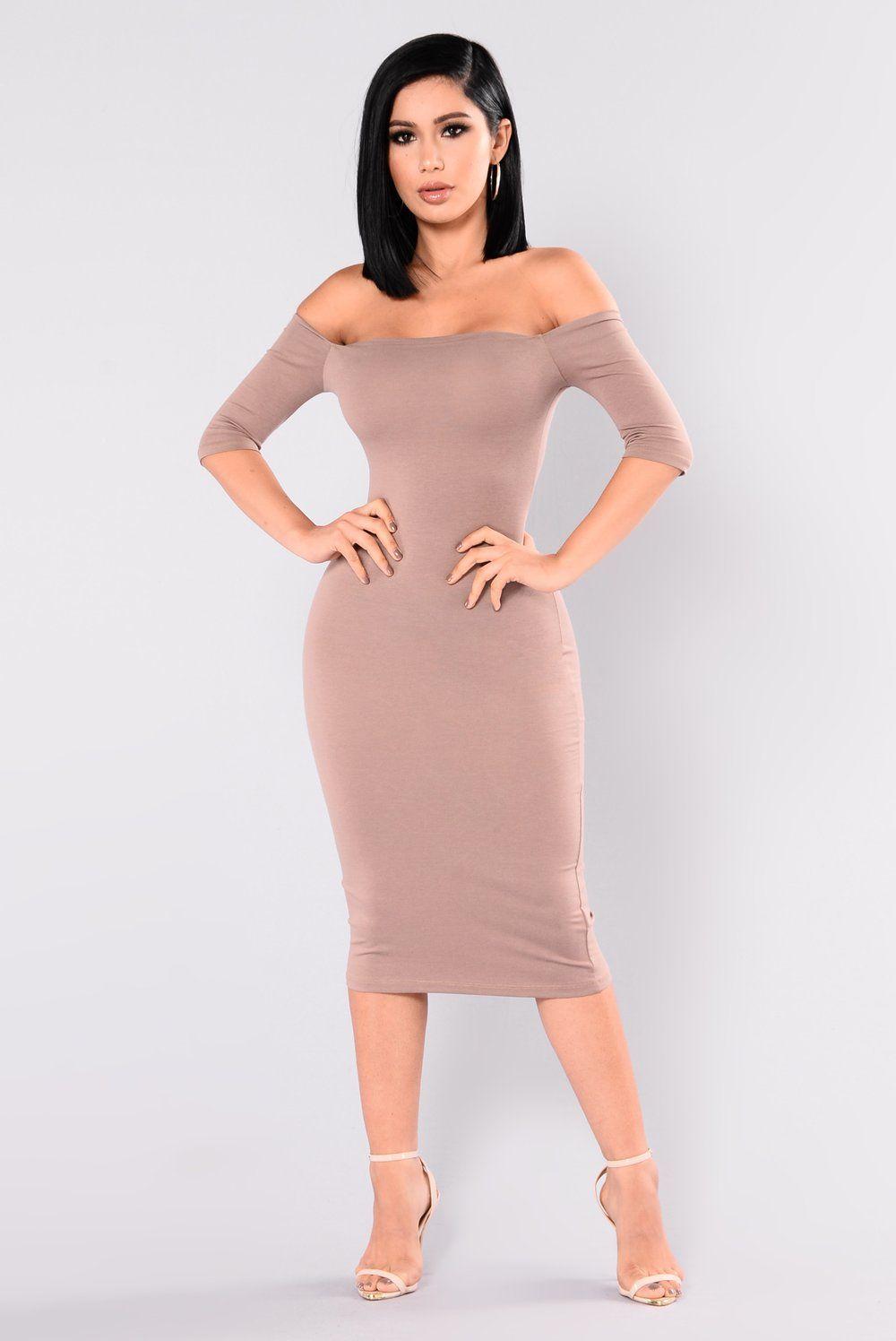 Saira Off Shoulder Dress Mocha Fashion, Dresses