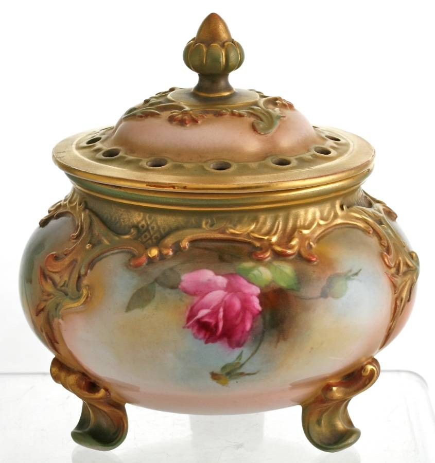 royal worcester pot pourri vase cover with handpainted roses c1907 pot pourri vases tussie. Black Bedroom Furniture Sets. Home Design Ideas