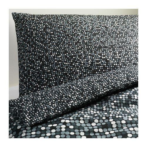 IKEA - SMÖRBOLL, Enkelt sengesett, 150x200/50x60 cm, , Skjulte trykknapper holder dynen på plass.