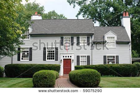 Red Door Grey House exterior colors. make the shutters a darker gray than the house