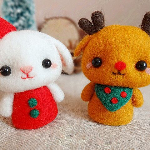 Needle Felted Felting Wool Animals Bunny Reindeer Cute Craft