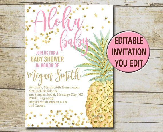 aloha pineapple baby shower invitation template tropical baby
