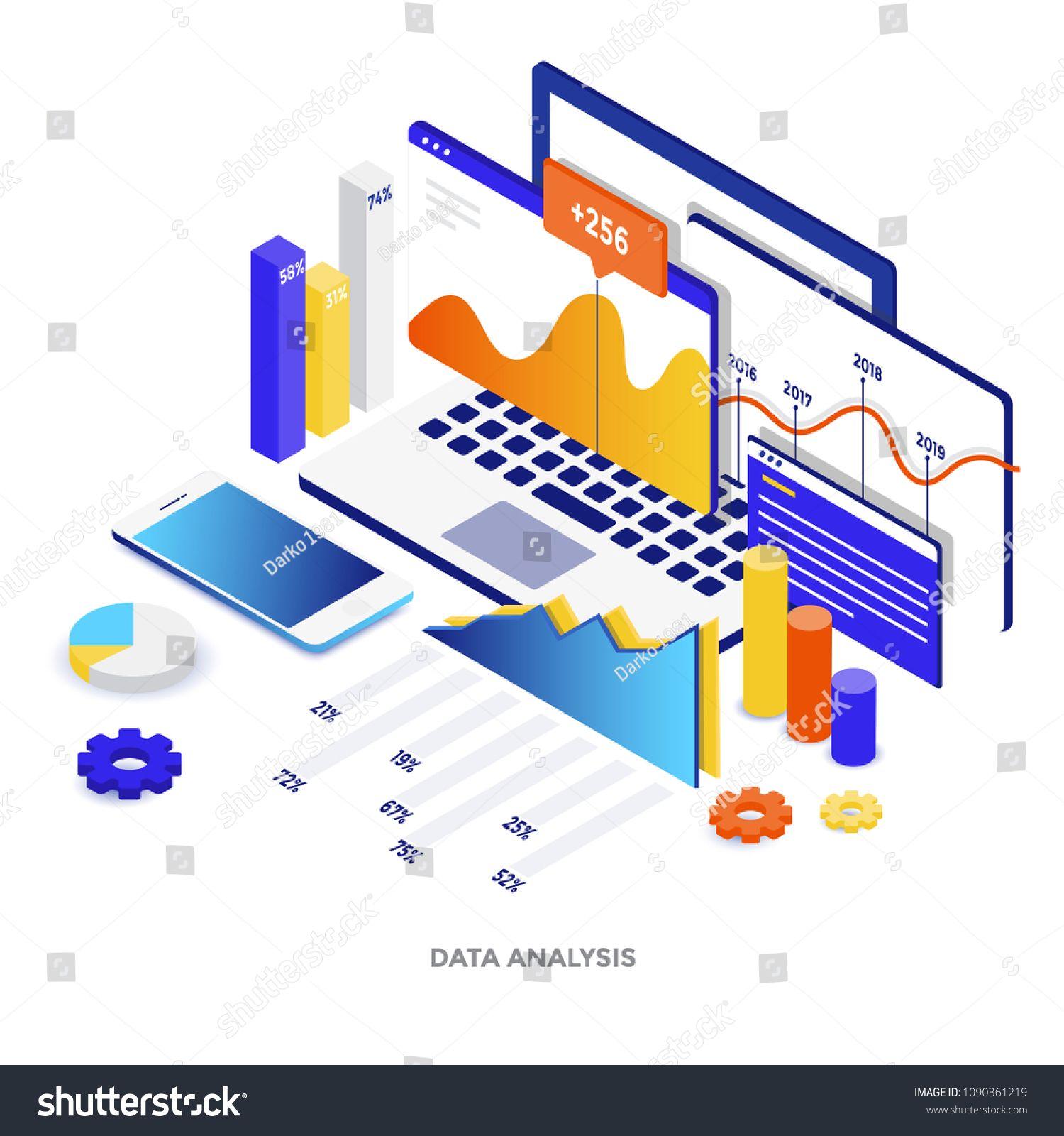 Modern Flat Design Isometric Illustration Of Data Analysis Can Be
