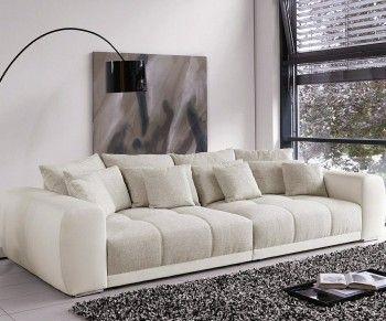 Big Sofa Valeska 310x135 Cm Grau Beige Mit 12 Kissen Leder