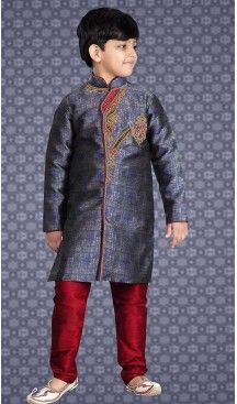 f68dee751f9ac Blue Color Banarasi Silk Readymade Boys Kurta Pajama Set ...