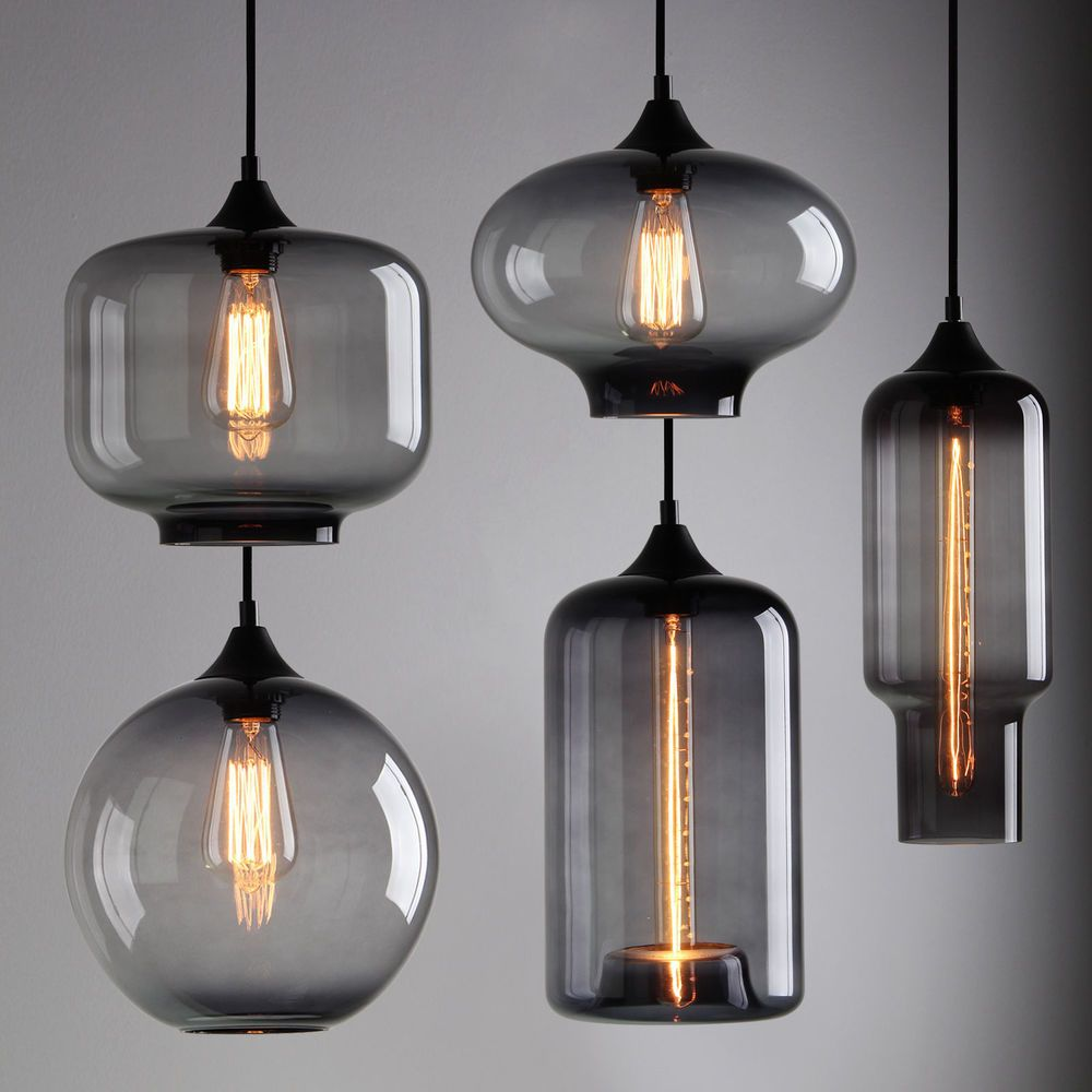 Modern Industrial Ceiling Lamp Black Grey Glass Shade Cafe Loft