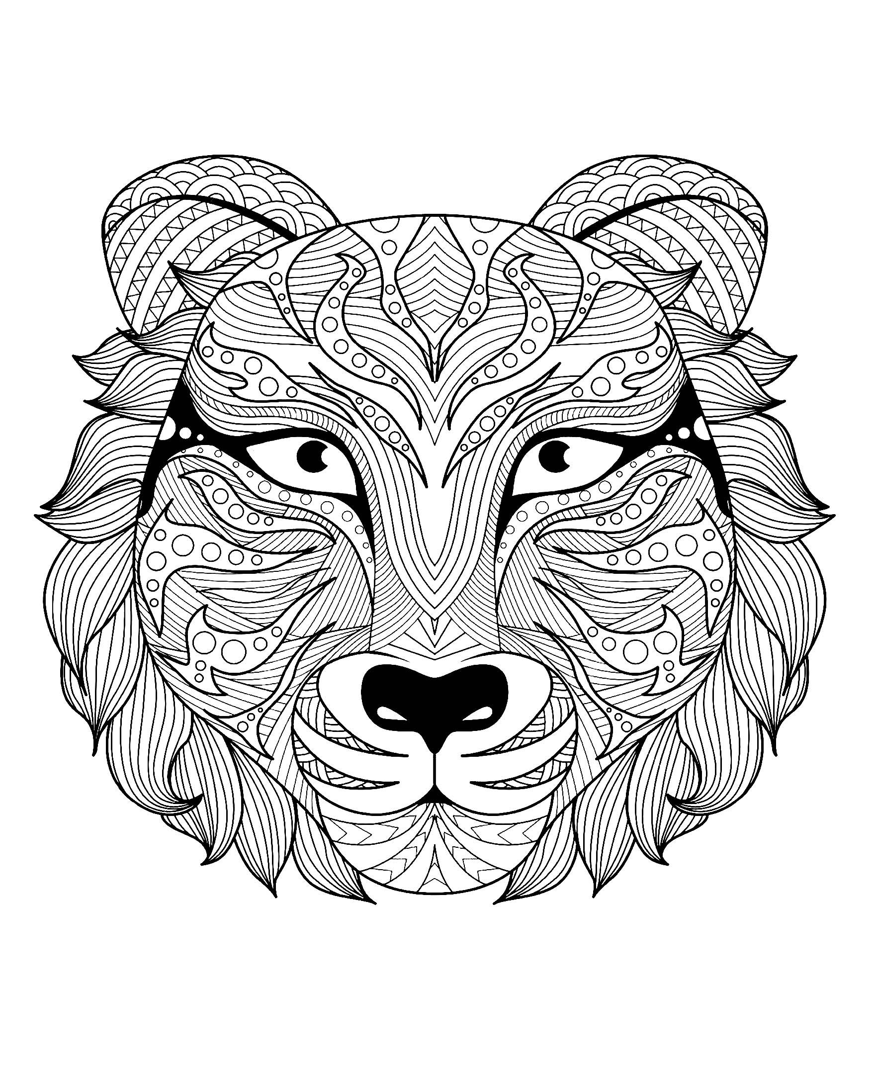 Tiger Head Magnificent Tiger Head From The Gallery Tigers Artist Bimdeedee Source 123 Animal Coloring Pages Mandala Coloring Pages Mandala Coloring