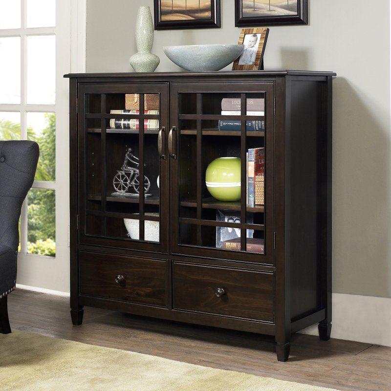 Best Simpli Home Connaught Storage Cabinet Dark Chestnut 400 x 300
