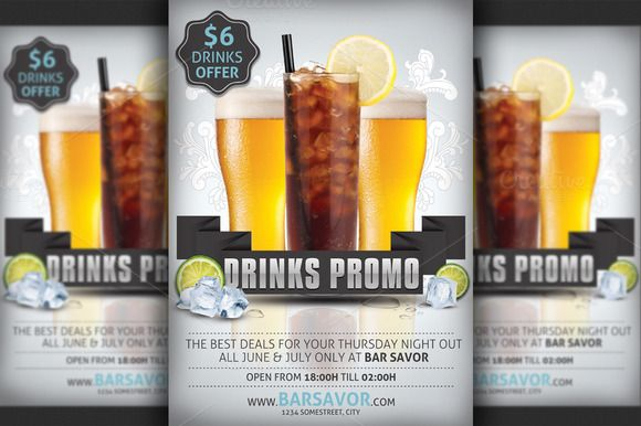 Drinks Promo Flyer Template by Hotpin on Creative Market Print - promotional flyer template