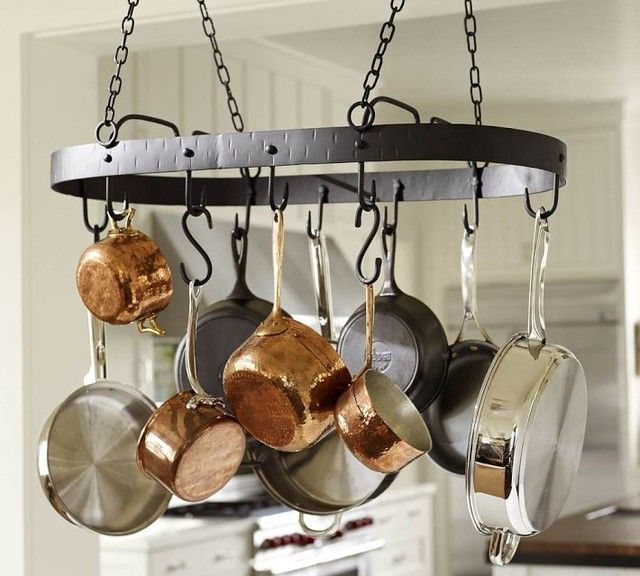 S Hooks And Chain Is Also A Good Options Lets Us Adjust The Length More Easily Not As Excited That It Would Sway Pot Rack Hanging Rustic Pot Racks Pot Rack Hanging pots and pans racks