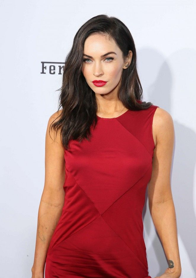 2c31cd030b3 Megan Fox is sultry in a red Versace dress at Ferrari s 60th Anniversary in  the USA Gala
