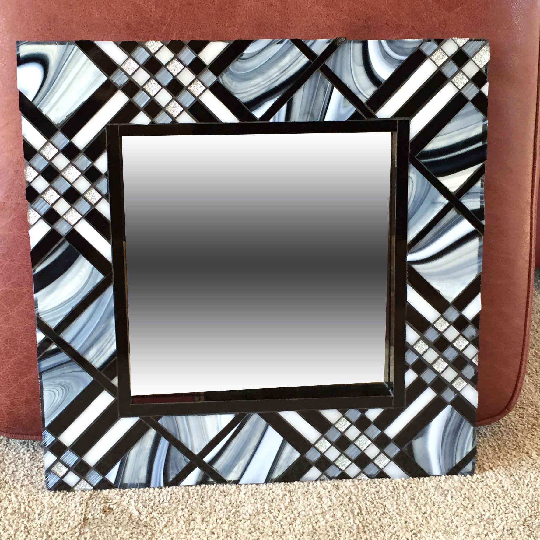 "Burberry plaid mosaic glass mirror, 18"" x 18"""