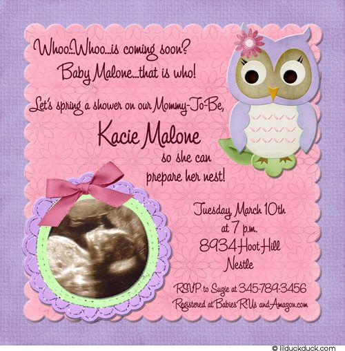 Spring owl ultrasound invitation baby shower pink purple spring owl ultrasound invitation baby shower pink purple filmwisefo Image collections