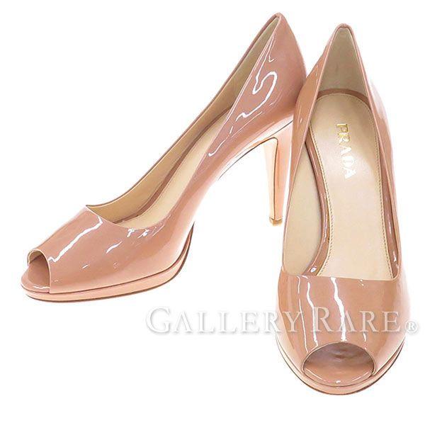 プラダ パンプス オープントゥ エナメル ピンクベージュ レディースサイズ37 PRADA 靴