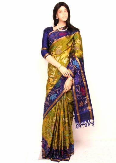afc80240e3 Shreedevi Textile Coimbatore Green Gram Colored Original Uppada Pure Silk  Saree