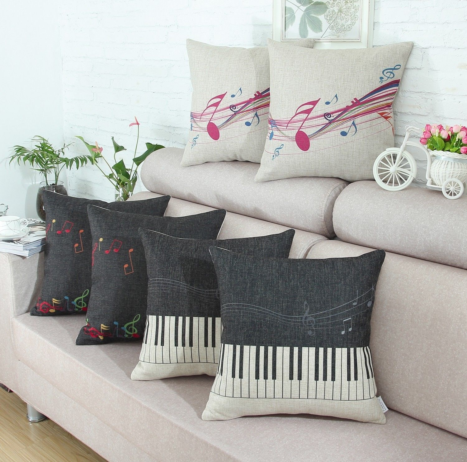 Details about Euphoria Cushion Cover Pillows Shell Music Theme Note