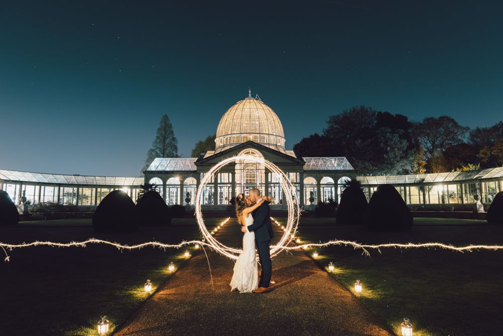 Sparkler portrait at Syon Park wedding photography