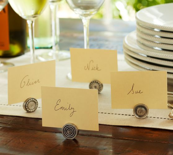 Vintage serveware that's been passed down for generations inspired these heirloom-quality Place Card Holders.
