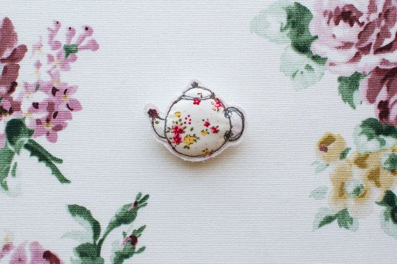 White Floral Teapot Brooch Lapel Pin by GraceGatleyTextiles