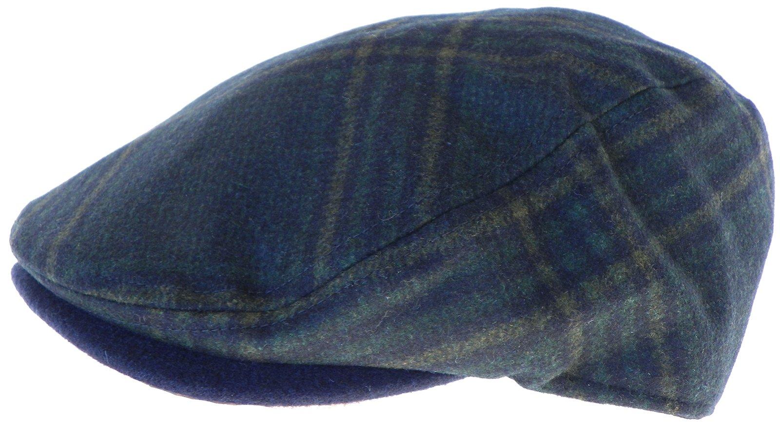 5cf912f9825 Broner Wool Blend Dark Navy Plaid Ivy Cap Driver Newsboy Scally Irish Hat