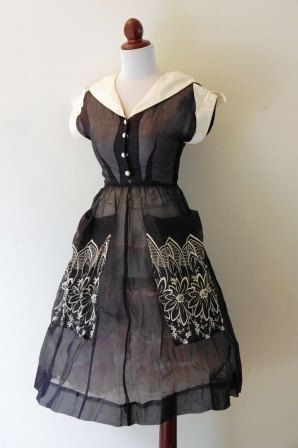 Vintage 1950s Black Cotton and White by RetroKittenVintage on Etsy, $65.00