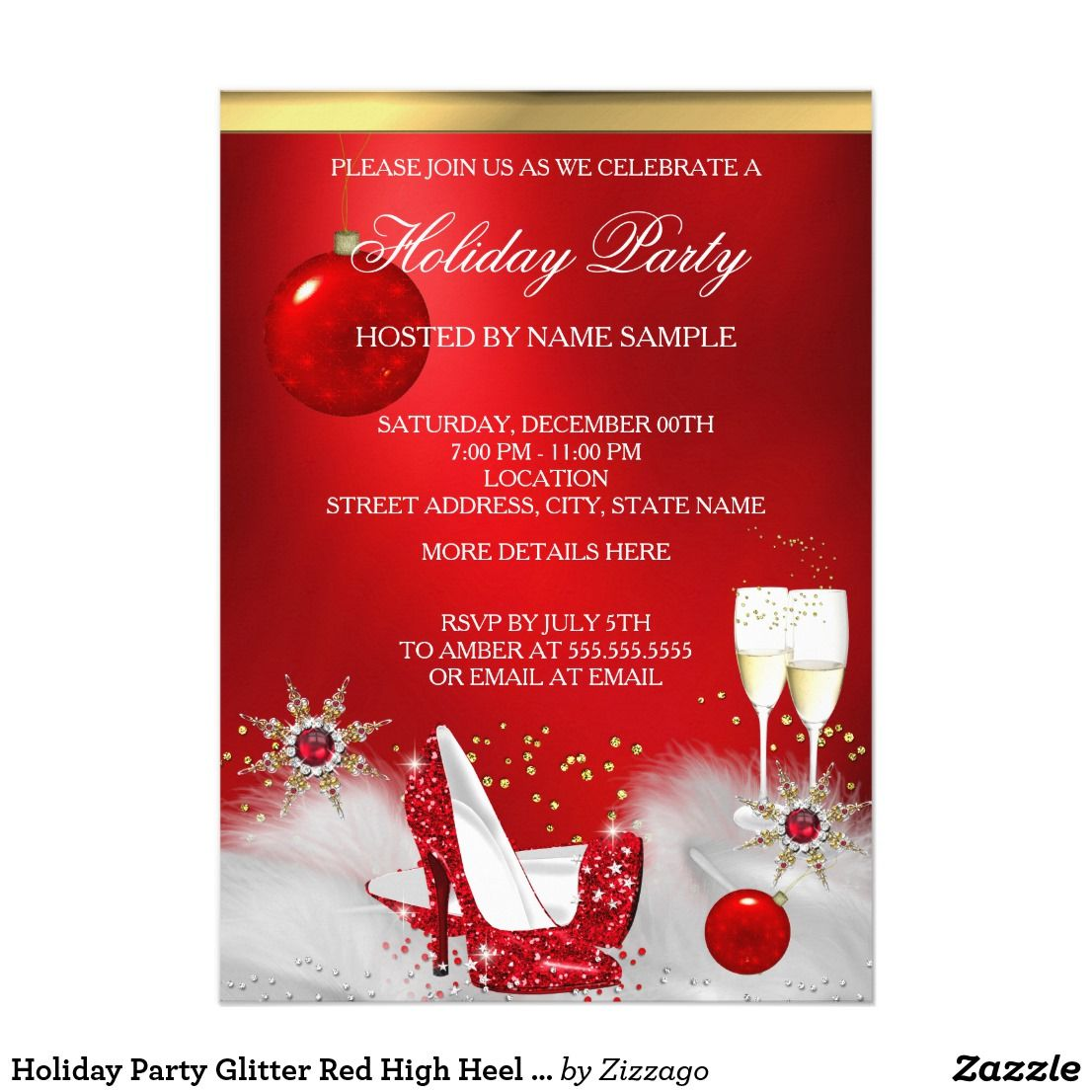 Holiday Party Glitter Red High Heel Champagne Invitation | Holiday ...
