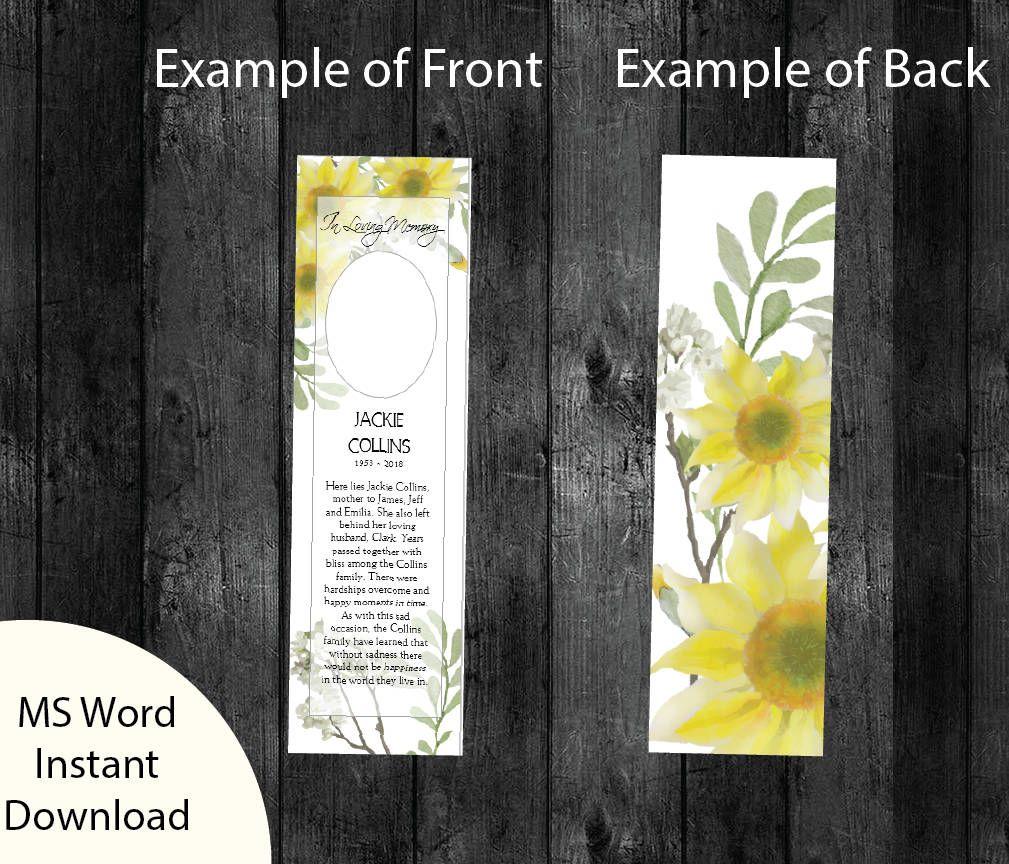Sunflower Funeral Bookmark Template Printable Bookmark Template