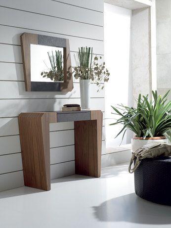Console contemporaine 1 tiroir MIA, coloris chêne moyen et PU noir