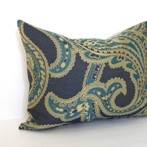 Lumbar Pilow Cover Blue Gold Turquoise Paisley Accent Oblong Decorative Throw Pillow Cover 12x24 12x21 12x18 12x16 10x20