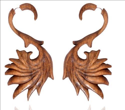Brown Wooden Handmade Tribal African Boho BIG Wood Fake Gauge Earring WER025