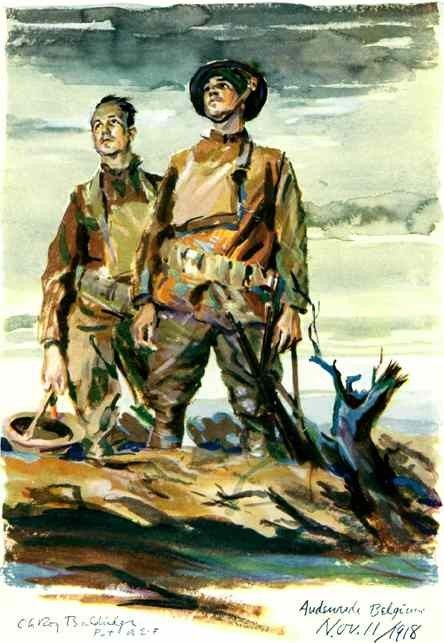 The spirit of the American soldier in World War 1 is glorified in this color poster. - 1918