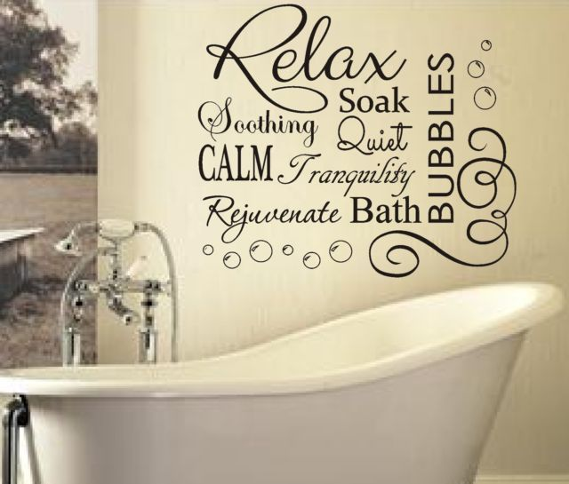 Soak relax vinyl bubbles bath quote large vinyl for Bathroom wall decor quotes