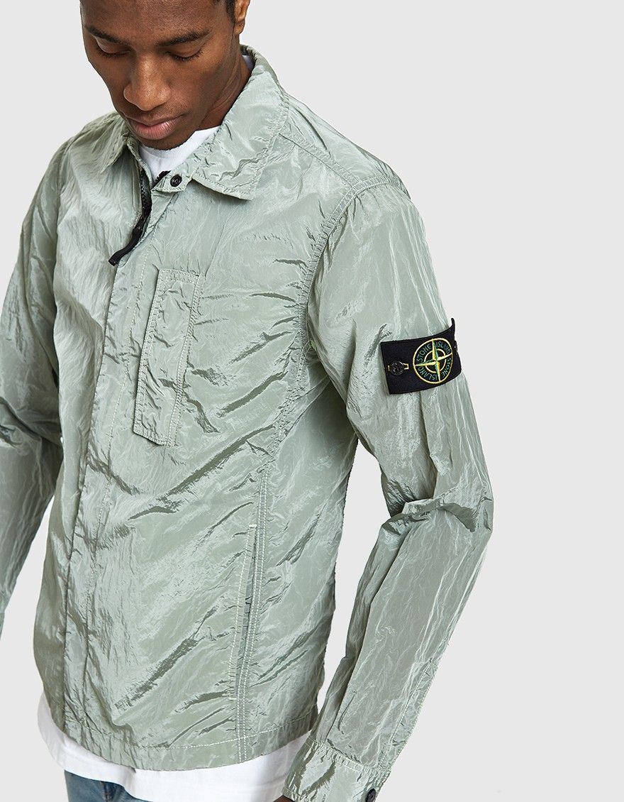2faaf79b00 Stone Island   Nylon Metal Overshirt. Lightweight overshirt from Stone  Island in Light Green  men  clothing  jacket  shirt  sleeve