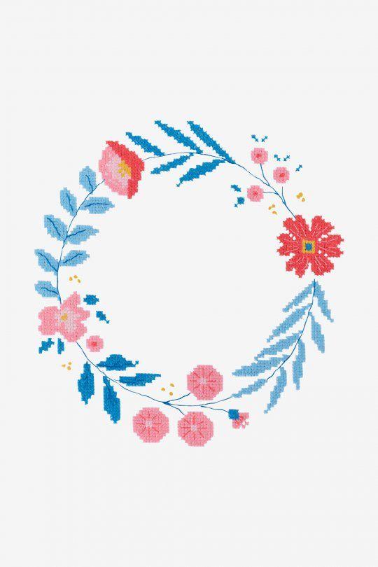 Diagramas de patrones Corona de flores | Punto de cruz | Pinterest ...