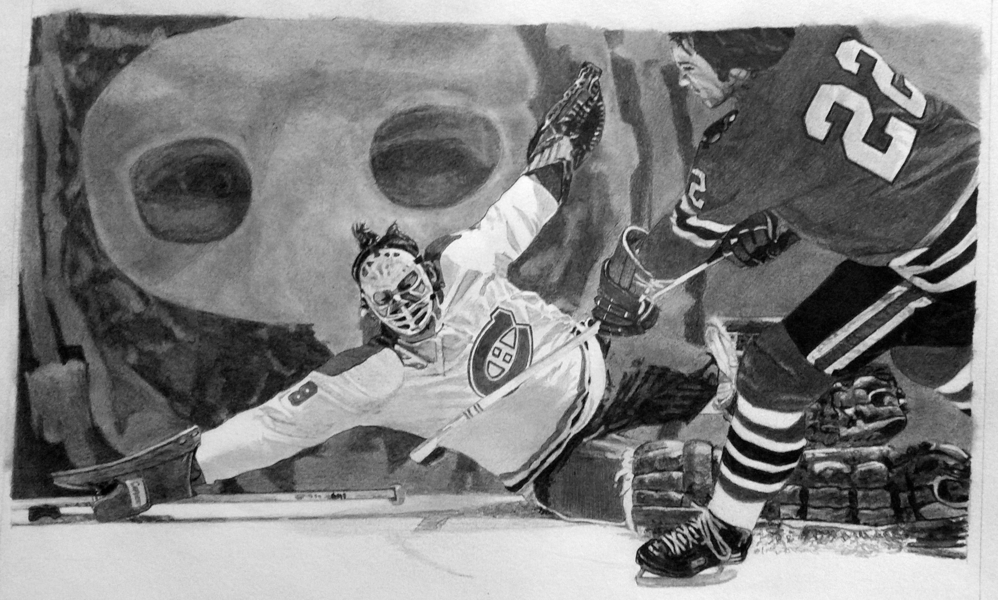 Hockey Art Ken Dryden Pencil Drawing Montreal Canadiens Hockey Goalie Created By Artist Robb Scott Sports Art Sports Drawings Montreal Canadiens Hockey