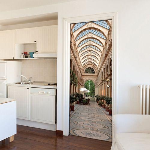 ce sticker de porte galerie est un merveilleux trompe l. Black Bedroom Furniture Sets. Home Design Ideas