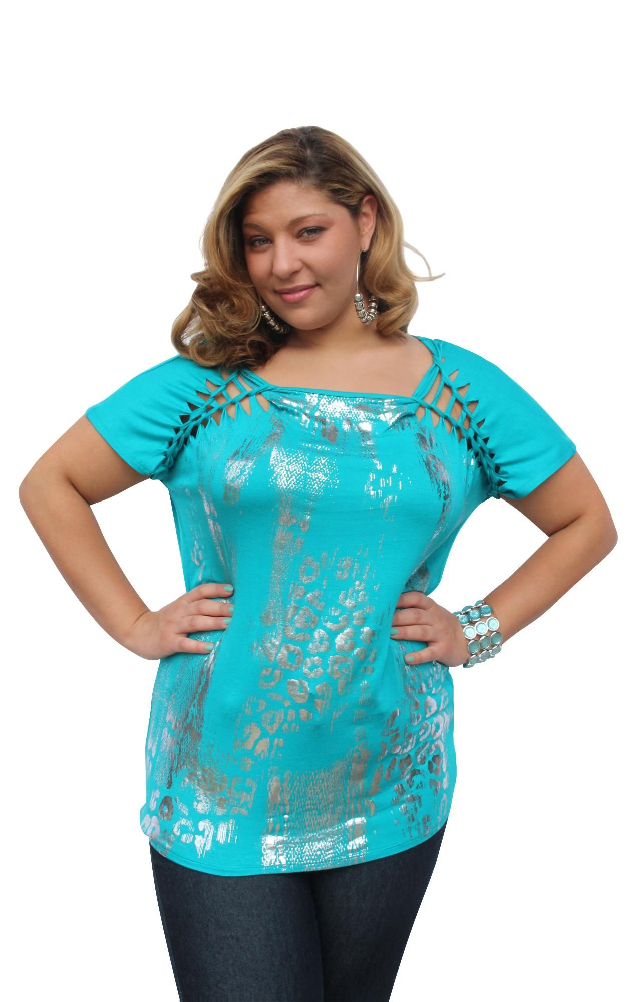Love The Shoulders - Laser cut sleeve all over animal print foil tee