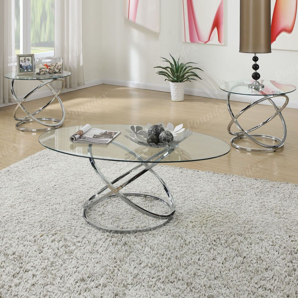 3PC Clear Glass Tops Interlaced Spinning Circle Frame Coffee Table End Table Set #Poundex #ModernDesign
