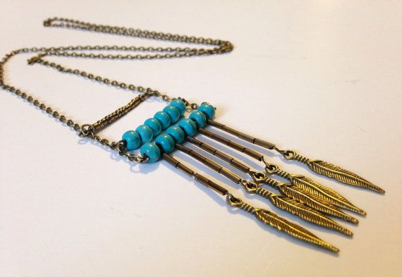 Antique Turquoise Bead & Feather Brass Look Long by TheChainLoft