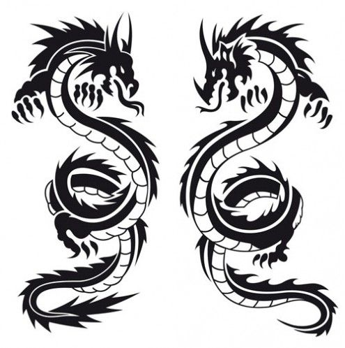Black And White Dragon Tattoo Cool Eyecatching Tatoos Black Dragon Tattoo Dragon Tattoo Vector Dragon Silhouette